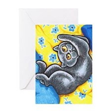British Shorthair Flower Bed Greeting Cards