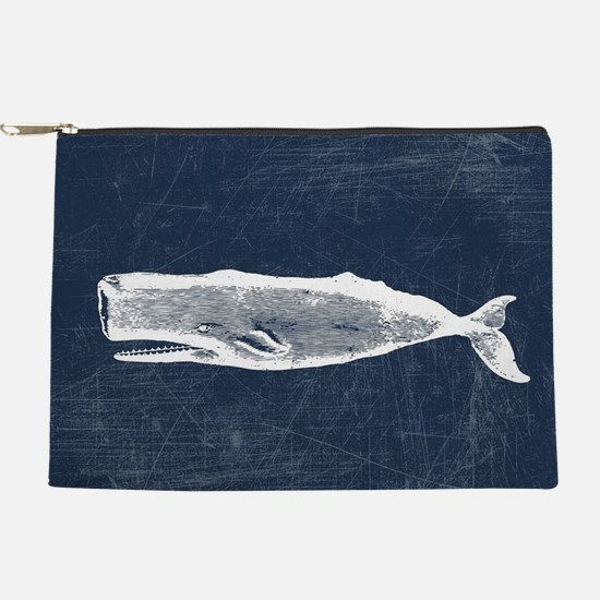 Vintage Whale White Makeup Pouch