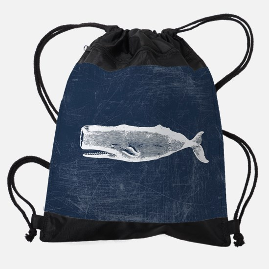 Vintage Whale White Drawstring Bag