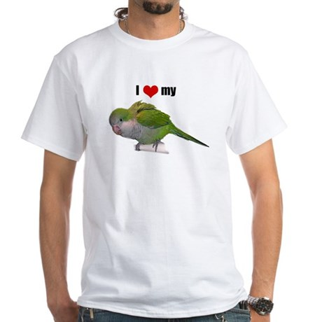 White T-Shirt with Quaker parrot