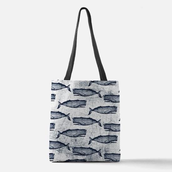 Vintage Whale Pattern Dark Blue Polyester Tote Bag