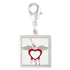Red Dripping Heart with Wings Charms