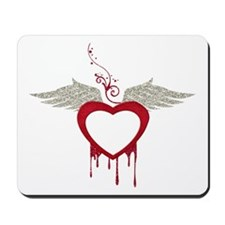 Red Dripping Heart with Wings Mousepad