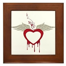 Red Dripping Heart with Wings Framed Tile