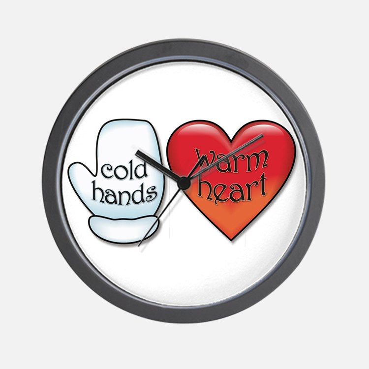 Funny Cold Hands Warm Heart Wall Clock