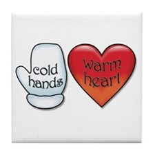 Funny Cold Hands Warm Heart Tile Coaster