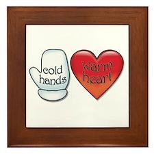 Funny Cold Hands Warm Heart Framed Tile