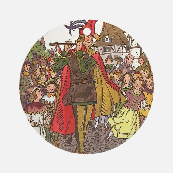 Vintage Pied Piper Fairy Tale  Round Ornament
