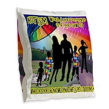Autism Spectrum Umbrella Burlap Throw Pillow