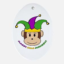 Mardi Gras Monkey Oval Ornament