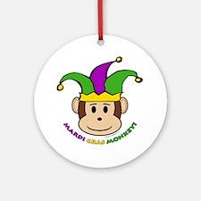 Mardi Gras Monkey Ornament (Round)