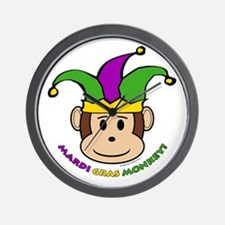 Mardi Gras Monkey Wall Clock