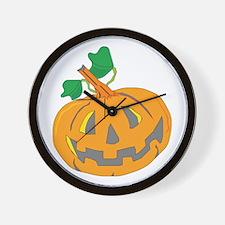 Halloween Carved Pumpkin Wall Clock