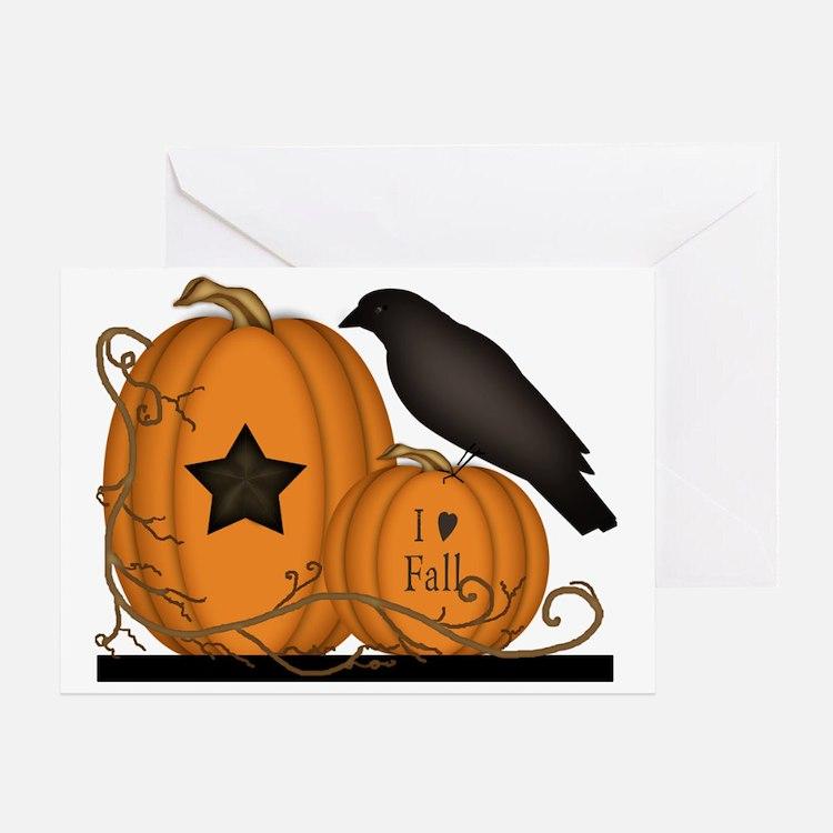 Primitive Pumpkin Crow I Love Fall  Greeting Card