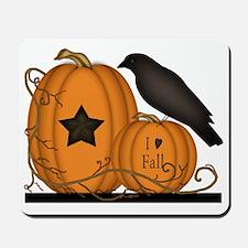 Primitive Pumpkin Crow I Love Fall  Mousepad