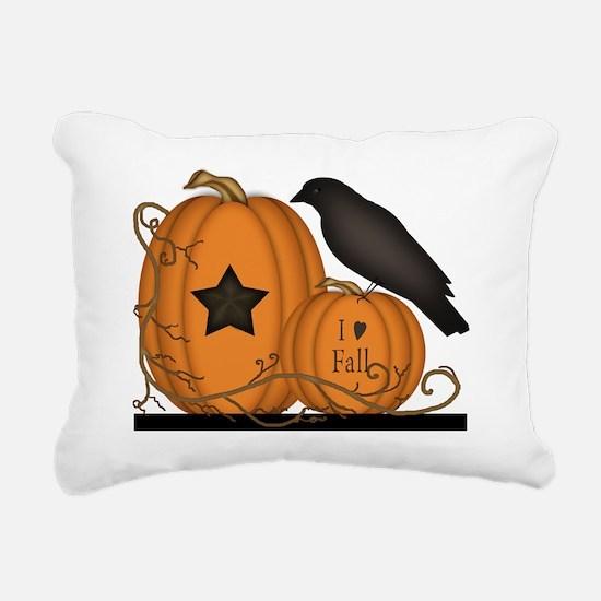 Primitive Pumpkin Crow I Rectangular Canvas Pillow