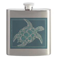 Aqua Sea Turtle Flask