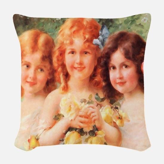 Victorian Angels Woven Throw Pillow