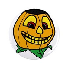 "Creepy smiling halloween punmpkin 3.5"" Button"