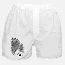 Black and White Native American Headd Boxer Shorts