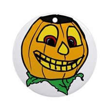 Creepy smiling halloween punmpkin Ornament (Round)
