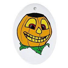 Creepy smiling halloween punmpkin Ornament (Oval)