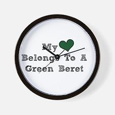 My Heart Belongs To A Green Beret Wall Clock