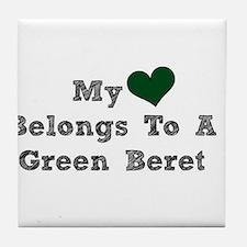 My Heart Belongs To A Green Beret Tile Coaster