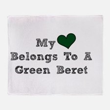 My Heart Belongs To A Green Beret Throw Blanket