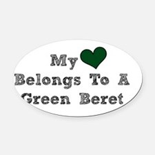My Heart Belongs To A Green Beret Oval Car Magnet