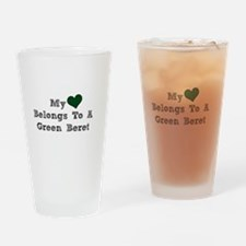 My Heart Belongs To A Green Beret Drinking Glass