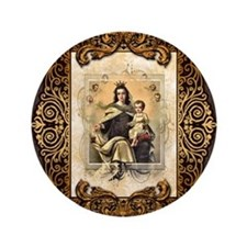 "Our Lady of Mt Carmel 3.5"" Button"