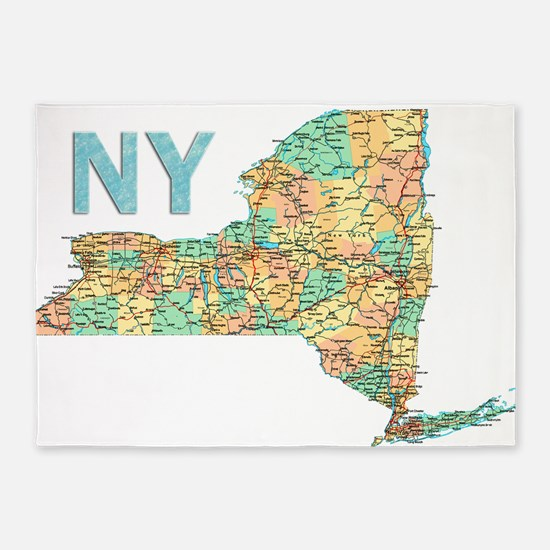 Map of New York State 6 5'x7'Area Rug