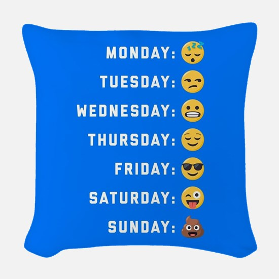 Emoji Days of the Week Woven Throw Pillow