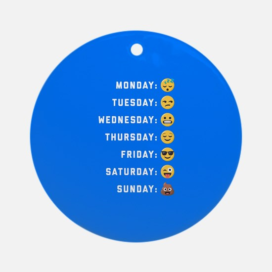 Emoji Days of the Week Round Ornament