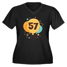 57th Birthday Party Women's Plus Size V-Neck Dark