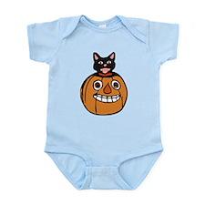 cartoon halloween pumpkin with a black cat Body Su