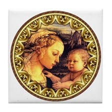 Virgin with Jesus by Lippi Tile Coaster