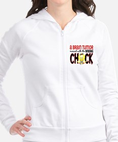 Brain Tumor Messed With Wrong Chick Fitted Hoodie