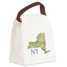 Map of New York State 7 Canvas Lunch Bag