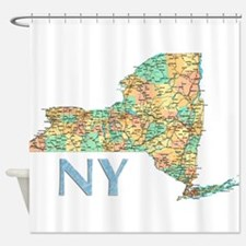 Map of New York State 7 Shower Curtain