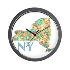 Map of New York State 7 Wall Clock