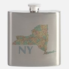 Map of New York State 7 Flask