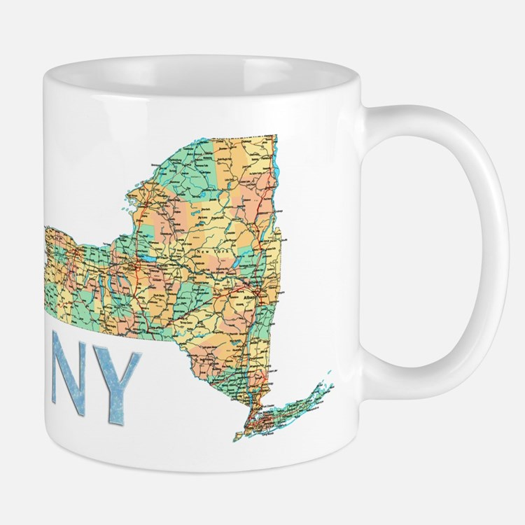 Map of New York State 7 Mugs
