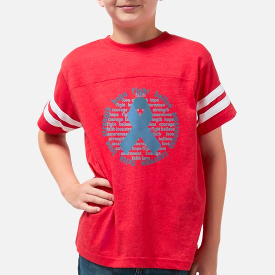Blue Encouragement Ribbon Youth Football Shirt
