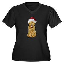 Goldendoodle Santa Women's Plus Size V-Neck Dark T