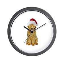 Goldendoodle Santa Wall Clock