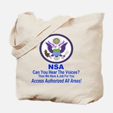NSA Can You Hear The Voices? Tote Bag