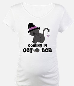 Halloween Coming In October Witch Cat Shirt