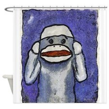 Hear No Evil Sock Monkey Shower Curtain